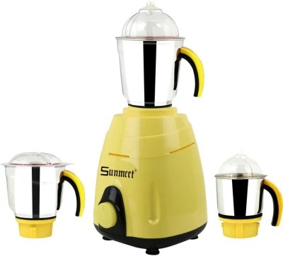 Sunmeet New_MG16-487MA 750 W Mixer Grinder(Yellow, 3 Jars)