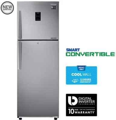 SAMSUNG 318 L Frost Free Double Door Refrigerator(RT34K3983SL, Real Stainless, 2016)