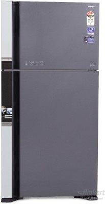 Hitachi 565 L Frost Free Double Door Refrigerator(R-VG610PND3, Glass Grey, 2016)