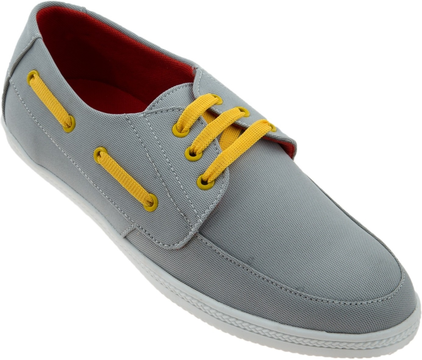 Zovi Grey Laceup with Yellow Laced Sneakers(Grey)