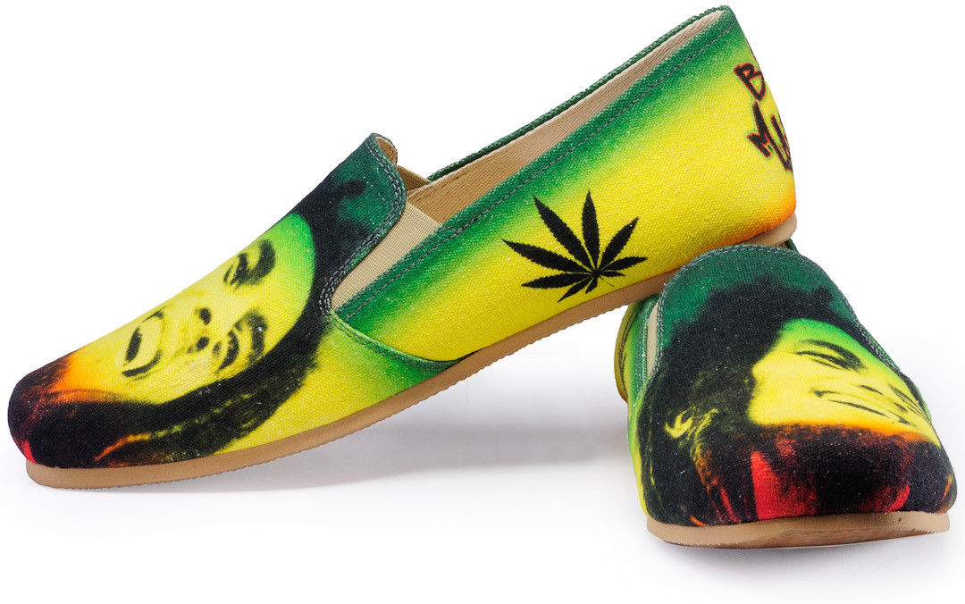 FUNK Bob Marley Printed Loafers(Green, Yellow)
