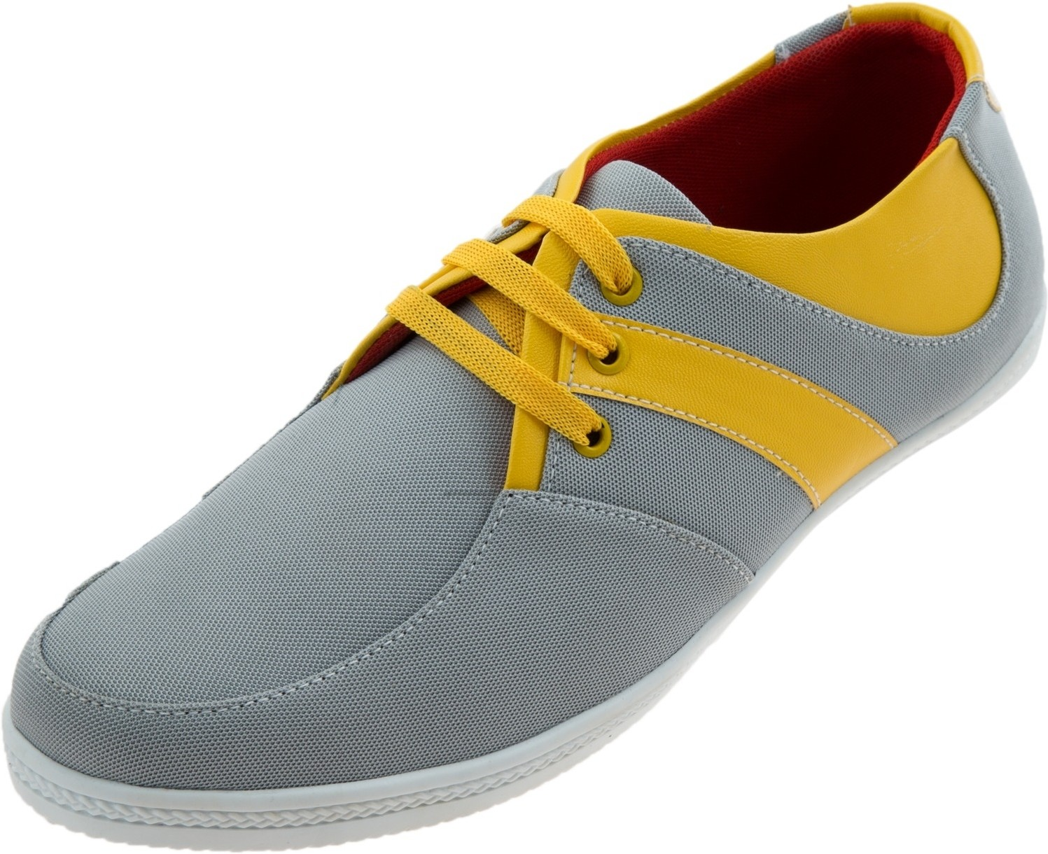 Zovi Grey with Yellow Stripes Quarter Sneakers(Grey, Yellow)
