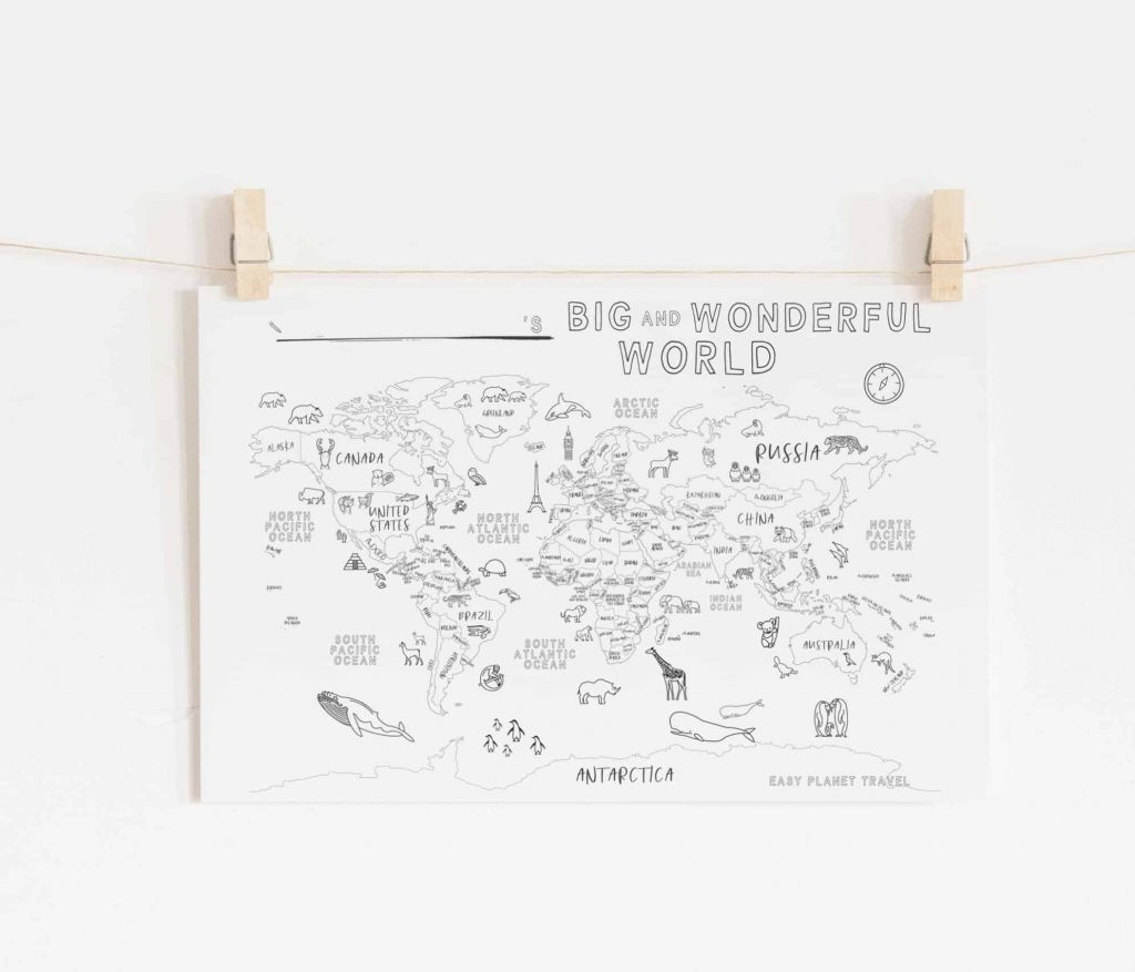 A Free Printable World Map For Your Kids To Color And Learn Flytrippers