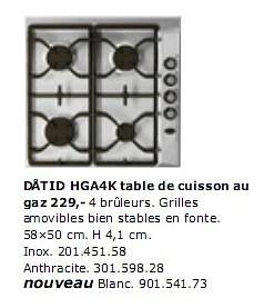 datid hga4k table de cuisson au gaz