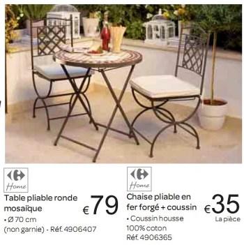 Promotion Carrefour Table Pliable Ronde Mosaique Produit Maison Carrefour Jardin Et Fleurs Valide Jusqua 4 Promobutler