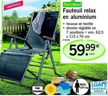 fauteuil relax en aluminium