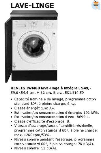 Promotion Ikea Renlig Iwm60 Lave Linge A Integrer Produit Maison Ikea Appareils Electriques Valide Jusqua 4 Promobutler
