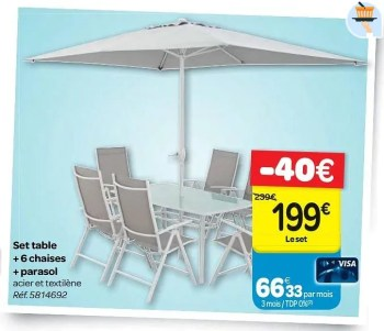 set table 6 chaises parasol