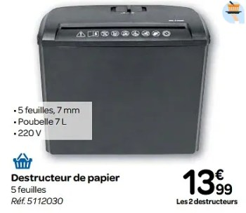 Promotion Carrefour Destructeur De Papier Produit Maison Carrefour Materiel Pour Bureau Et Pour L Ecole Valide Jusqua 4 Promobutler