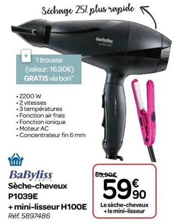 Promotion Carrefour Babyliss Seche Cheveux P1039e Mini Lisseur H100e Babyliss Appareils Electriques Valide Jusqua 4 Promobutler