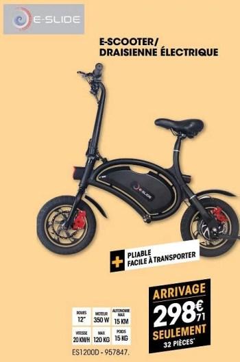 e slide e scooter draisienne electrique es1200d