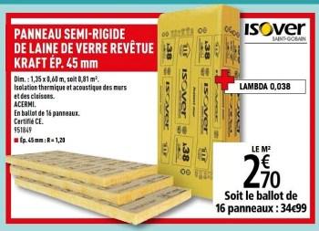 Promotion Brico Depot Panneau Semi Rigide De Laine De Verre Revetue Kraft Ep Isover Construction Renovation Valide Jusqua 4 Promobutler