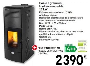 Promotion Brico Depot Poele A Granules Hydro Canalisable 17 Kw Produit Maison Brico Depot Chauffage Et Climatisation Valide Jusqua 4 Promobutler