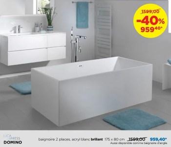 baignoires a poser en acryl brillantes domino baignoire 2 places acryl blanc brillant