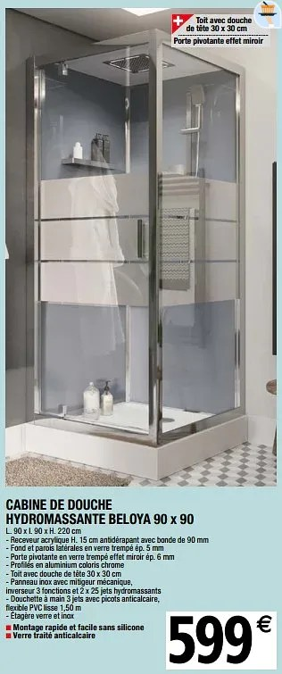 cabine de douche hydromassante beloya