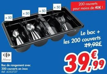 Promotion Carrefour Bac De Rangement Avec 200 Couverts En Inox Produit Maison Carrefour Menage Valide Jusqua 4 Promobutler