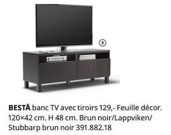 besta banc tv avec tiroirs