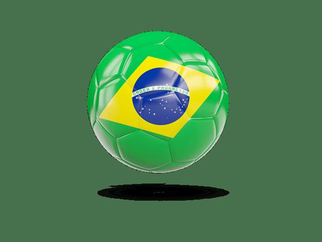 Glossy Soccer Ball. Illustration Of Flag Of Brazil