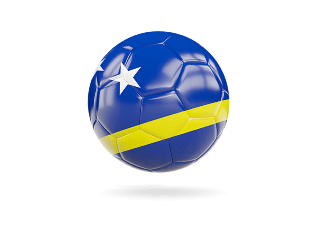 Glossy Soccer Ball. Illustration Of Flag Of Curacao