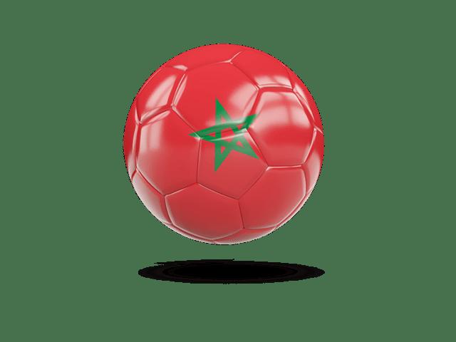 Glossy Soccer Ball. Illustration Of Flag Of Morocco