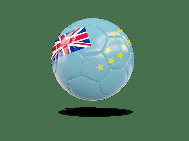 Glossy Soccer Ball. Illustration Of Flag Of Tuvalu