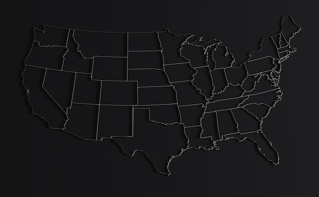 A blank map of the united states, not including territories such as puerto rico and guam. Premium Photo United States Of America Map On Black Background 3d Render Of Empty Usa Territory With Borders