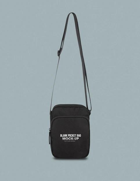Indoor wall poster free mockup. Premium Psd Black Pocket Bag Mockup Template For Your Design