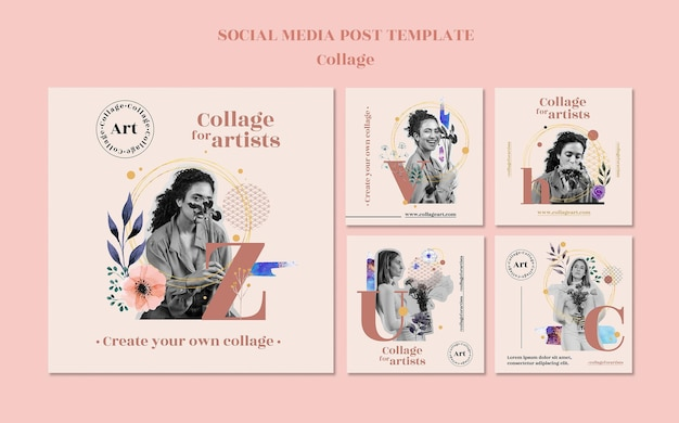 Free Psd Collage For Artists Social Media Post Template