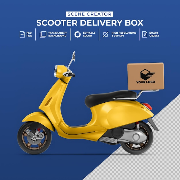 Other mockups all free mockups. Premium Psd Creative Concept 3d Render Of Delivery Scooter Bike With Box Mockup