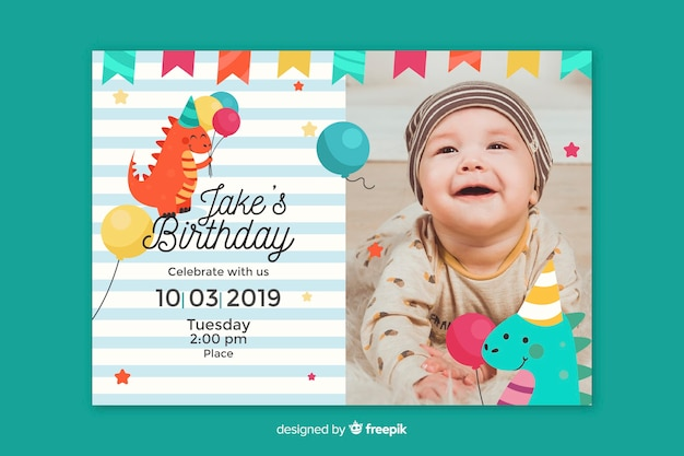 free boy birthday invitation vectors 2