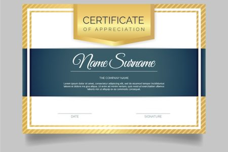 Award Vectors  Photos and PSD files   Free Download Beautiful certificate template with golden elements