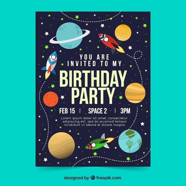 space birthday invitation images free