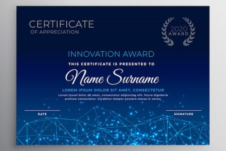 Certificate Backgrounds Vectors  Photos and PSD files   Free Download Blue innovation technology template design
