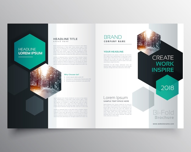 Brochure Template Vectors  Photos and PSD files   Free Download Brochure template with hexagonal shapes