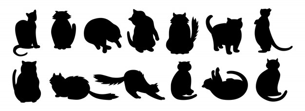 cat character collection black flat