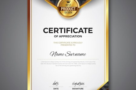 Certificate Vectors  Photos and PSD files   Free Download Certificate template with golden color