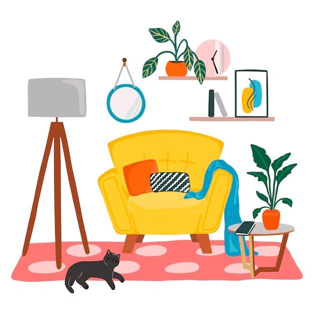 vector cozy interior of living room