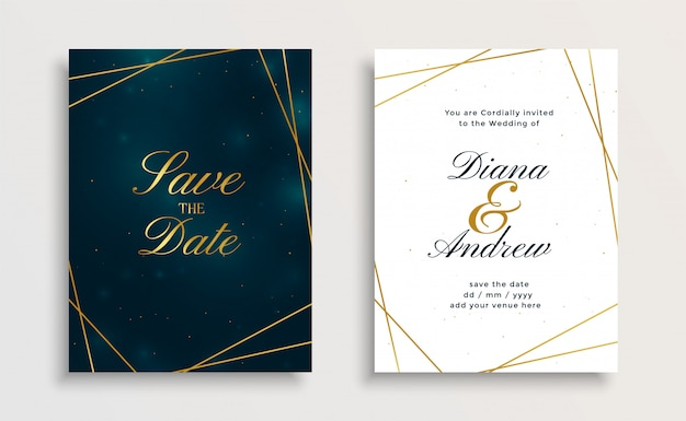 creative royal golden line wedding