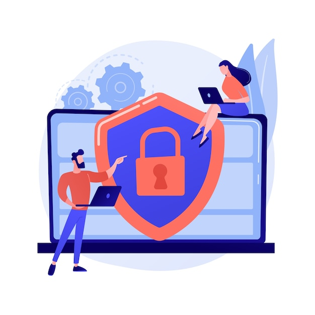 Cyber security risk management abstract concept illustration