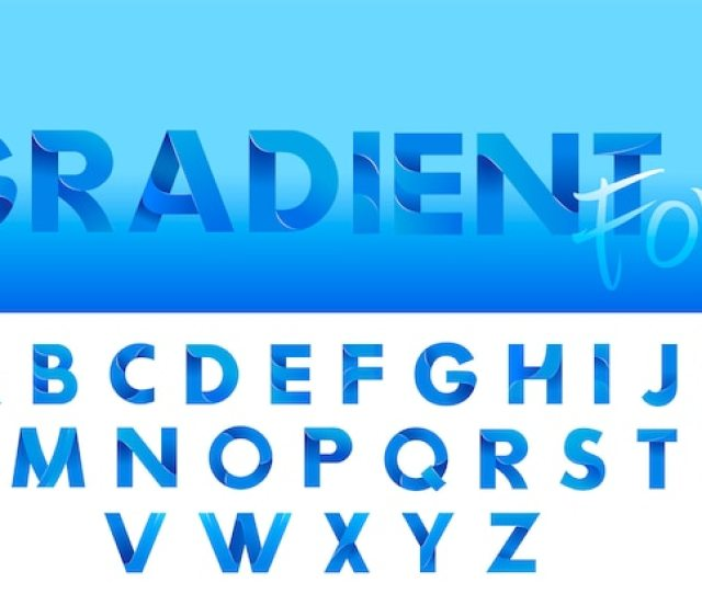 Decorative Gradient Blue Alphabet Font Letters For Logo And Design Typography