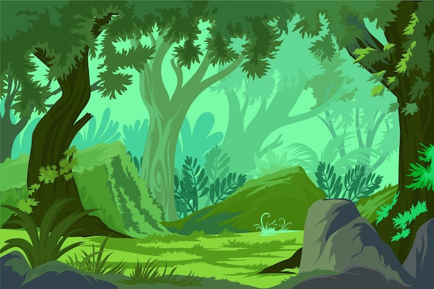 Large tree in a dense forest in a summer day. Free Vector Tropical Forest Landscape With Dense Forest