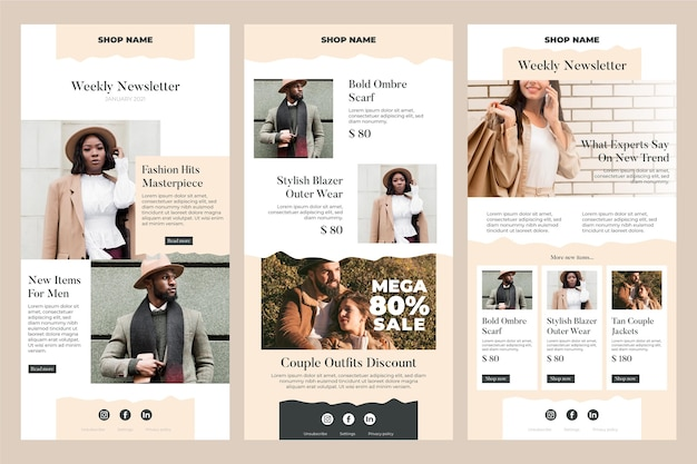 Green village html template responsive email free predesigned. Free Vector Ecommerce Email Templates With Photo