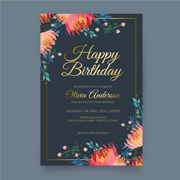 elegant birthday invite images free