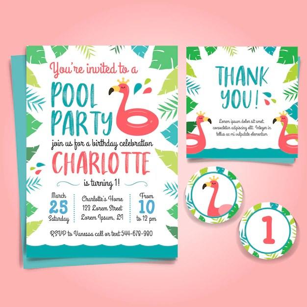 sixteen birthday flamingo invitation