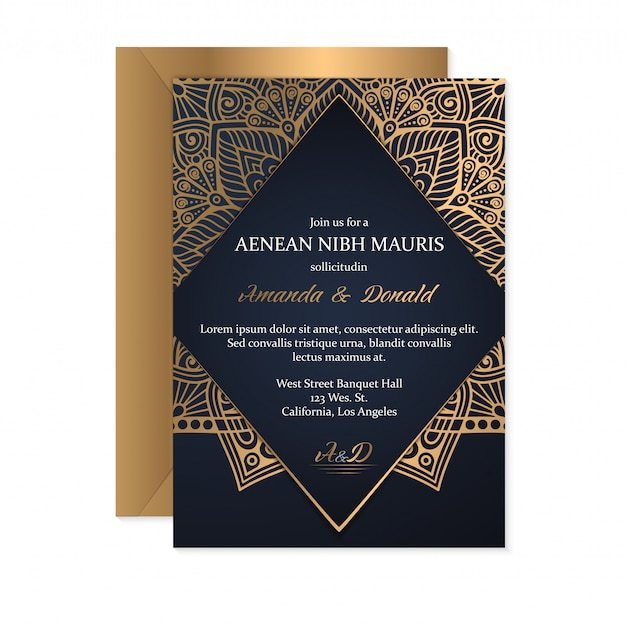 Gold Wedding Invitation Card Template