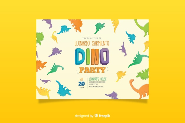 free dinosaur birthday invitation