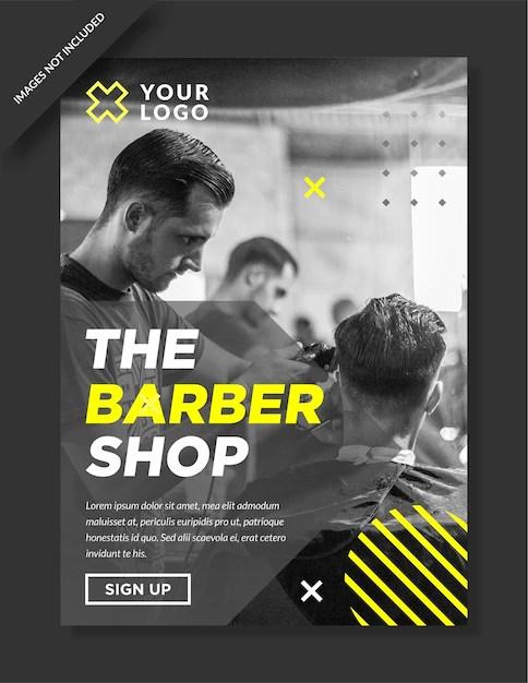modern barbershop poster and flyer design