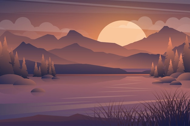 Download free stock photos on shotstash. Free Vector Mountain And Lake Sunset Landscape Realistic Tree In Forest And Mountain Silhouettes Evening Wood Panorama Illustration Wild Nature Background