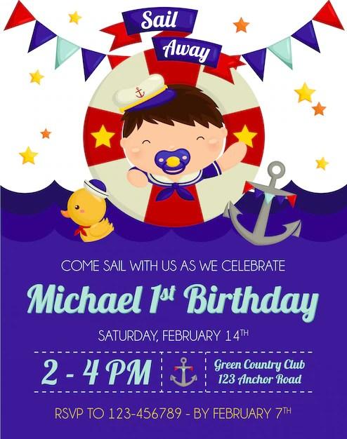 nautical baby boy birthday invitation