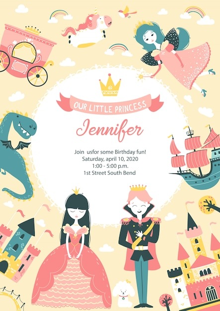 free vector princess birthday invitation